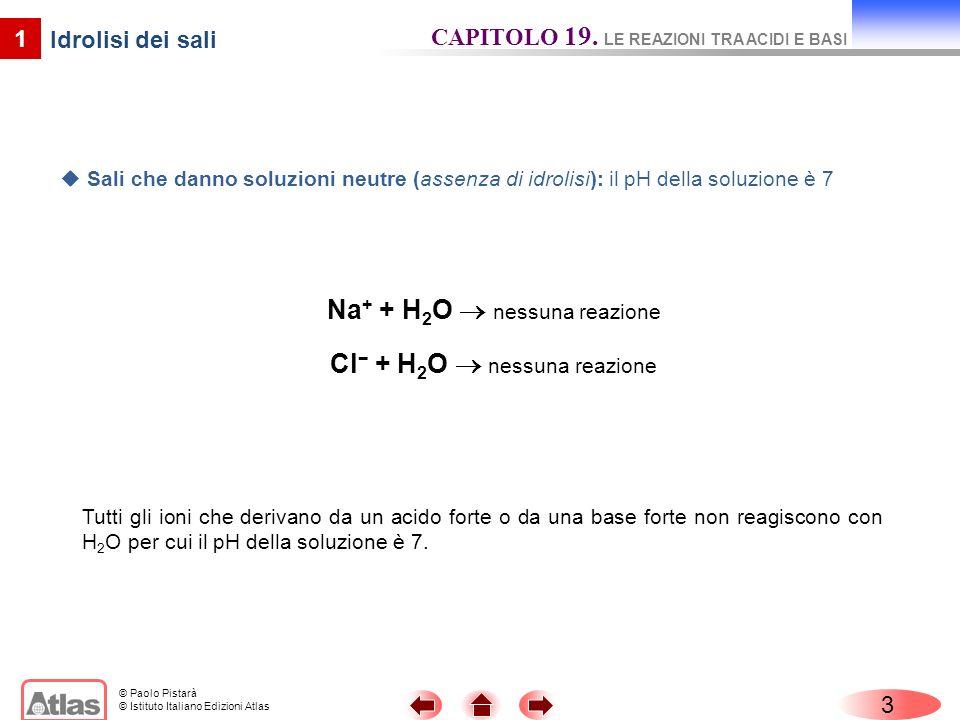 © Paolo Pistarà © Istituto Italiano Edizioni Atlas 4 1 Cl + H 2 O nessuna reazione Idrolisi dei sali CAPITOLO 19.