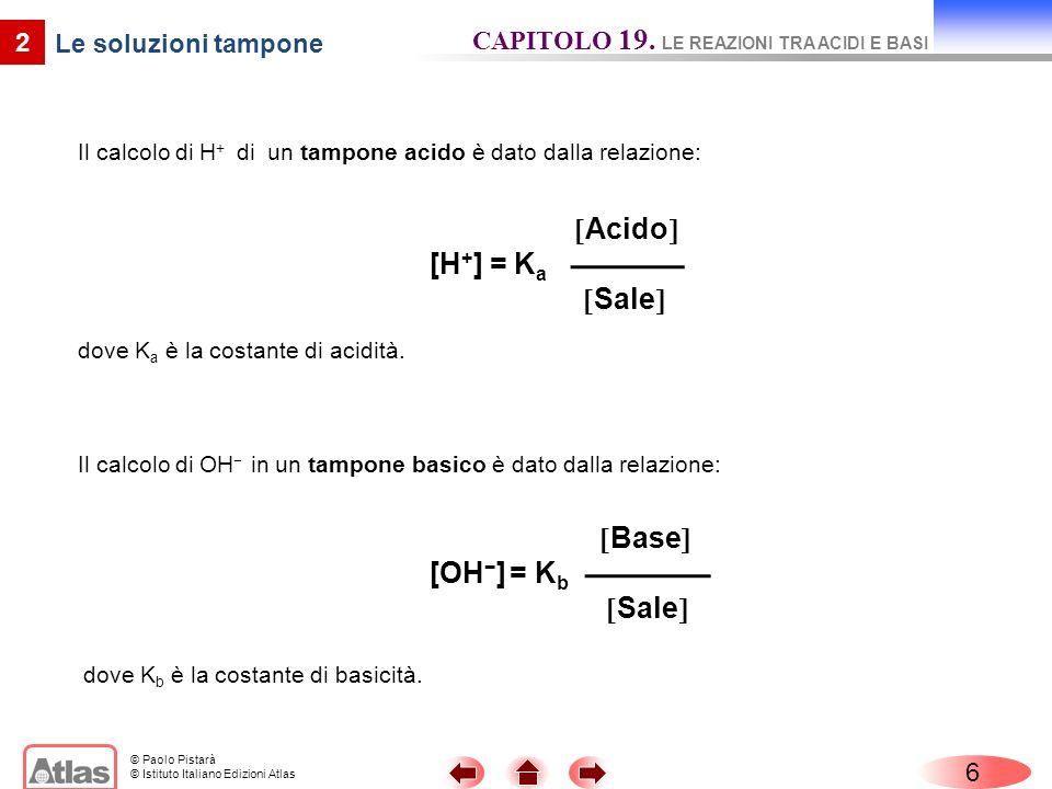 © Paolo Pistarà © Istituto Italiano Edizioni Atlas Il calcolo di H + di un tampone acido è dato dalla relazione: 6 2 Le soluzioni tampone CAPITOLO 19.