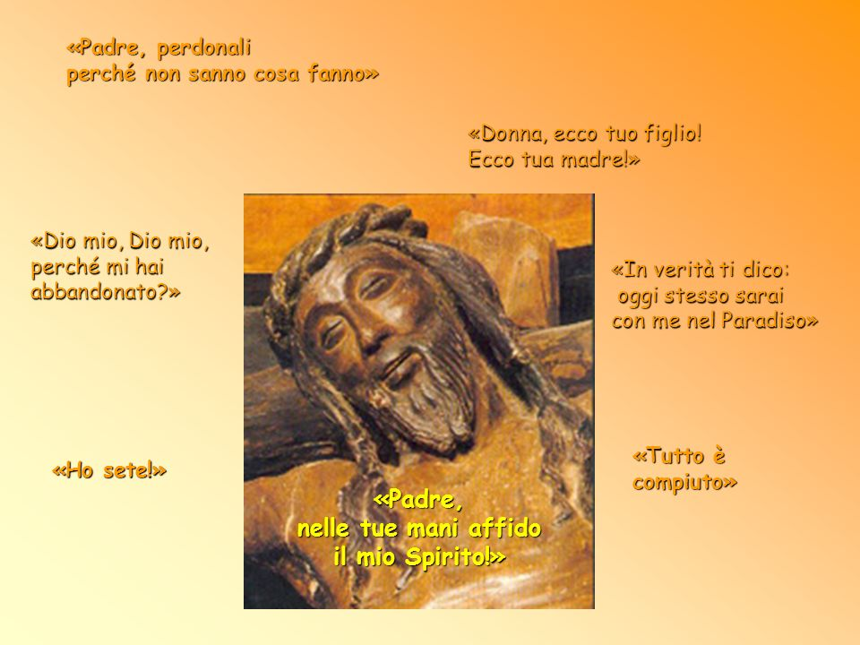 «Padre, nelle tue mani affido il mio Spirito!» Gloria dalla sua Gloria, Dio da Dio, da sempre a Lui uguale, Tu sei venuto dal Padre. e ora torni al Pa