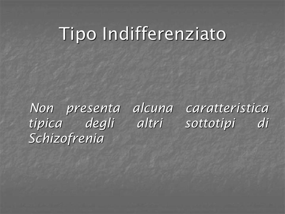 Tipo Indifferenziato Non presenta alcuna caratteristica tipica degli altri sottotipi di Schizofrenia Non presenta alcuna caratteristica tipica degli a