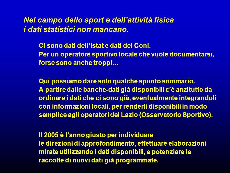 Nel campo dello sport e dellattività fisica i dati statistici non mancano.
