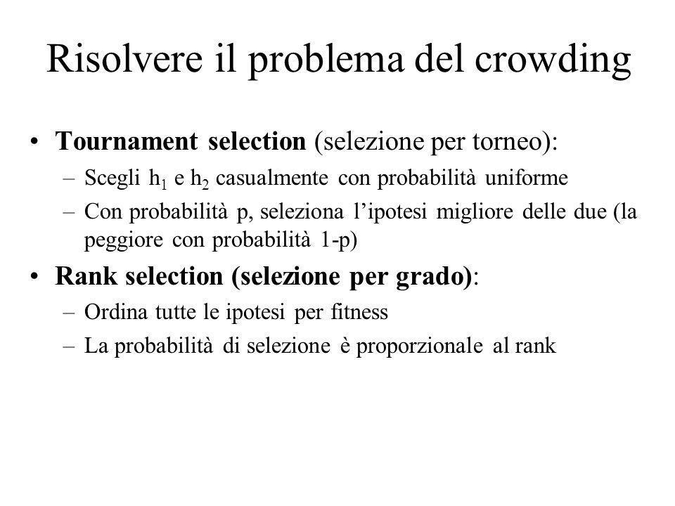 Risolvere il problema del crowding Tournament selection (selezione per torneo): –Scegli h 1 e h 2 casualmente con probabilità uniforme –Con probabilit