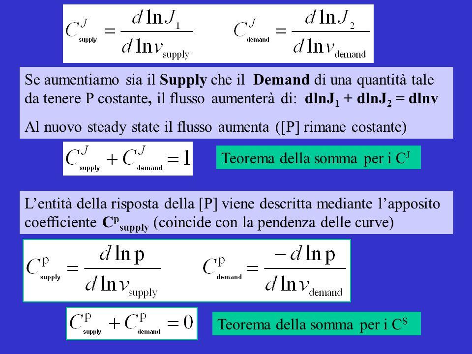Lentità della risposta della [P] viene descritta mediante lapposito coefficiente C p supply (coincide con la pendenza delle curve) Se aumentiamo sia il Supply che il Demand di una quantità tale da tenere P costante, il flusso aumenterà di: dlnJ 1 + dlnJ 2 = dlnv Al nuovo steady state il flusso aumenta ([P] rimane costante) Teorema della somma per i C J Teorema della somma per i C S