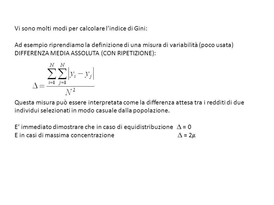 Vi sono molti modi per calcolare lindice di Gini: Ad esempio riprendiamo la definizione di una misura di variabilità (poco usata) DIFFERENZA MEDIA ASS