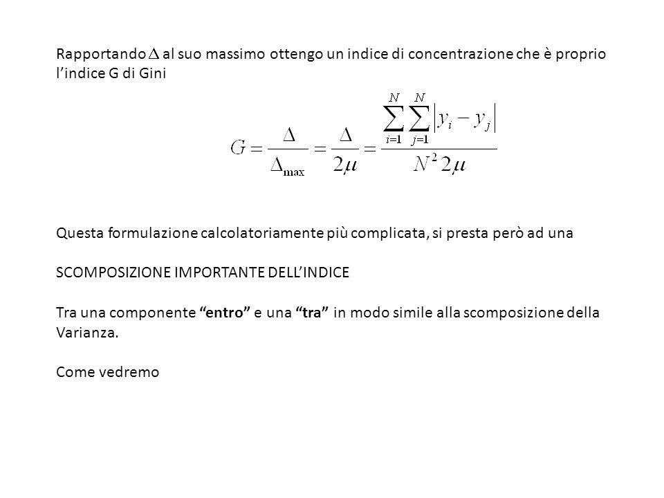 Rapportando al suo massimo ottengo un indice di concentrazione che è proprio lindice G di Gini Questa formulazione calcolatoriamente più complicata, s