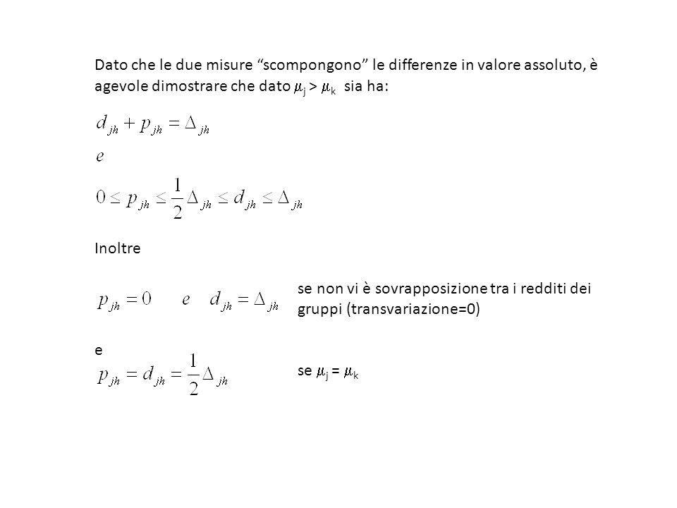 Dato che le due misure scompongono le differenze in valore assoluto, è agevole dimostrare che dato j > k sia ha: Inoltre se non vi è sovrapposizione t