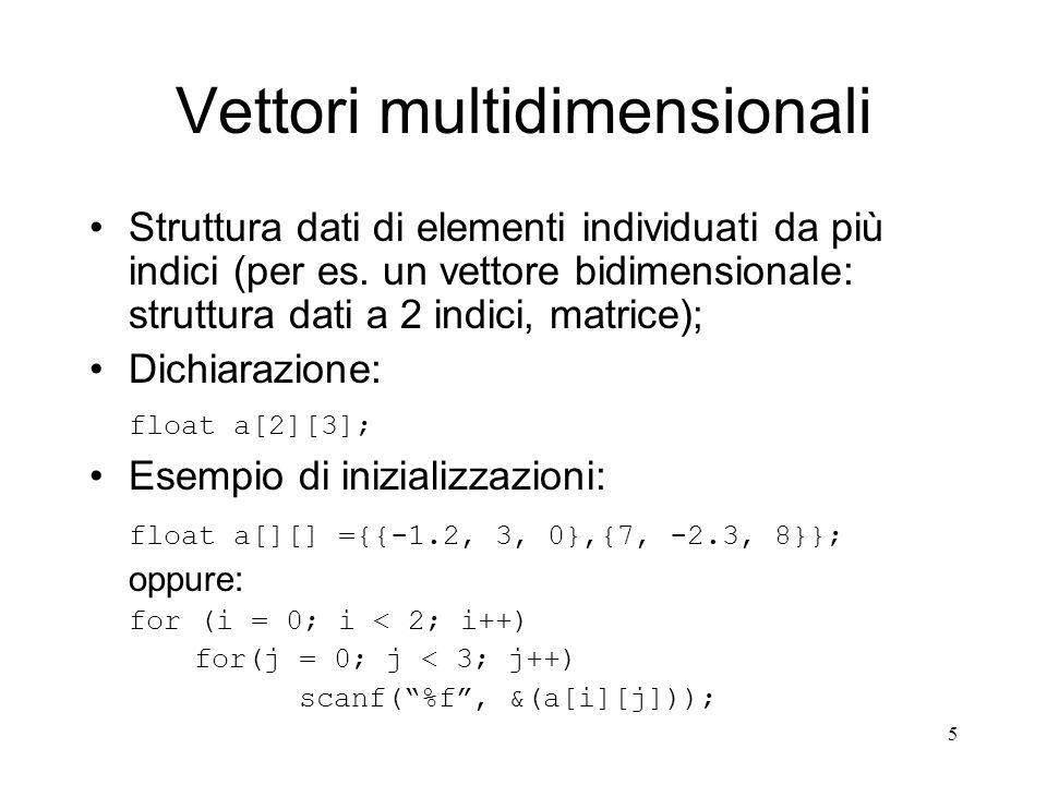 6 Vettori bidimensionali In C un vettore bidimensionale è un vettore ad una dimensione in cui ogni elemento è un vettore; float a[2][3]; a[0] a[1] a[0][0]a[0][1]a[0][2] a[1][0]a[1][1]a[1][2] Accesso agli elementi (visualizzazione per righe): for (i = 0; i < 2; i++) {for(j = 0; j < 3; j++) printf(%2.3f, a[i][j]); printf(\n); }