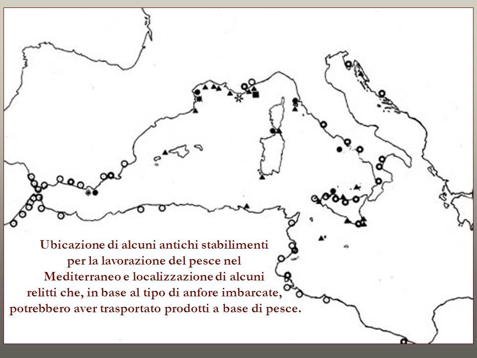 Ubicazione di alcuni antichi stabilimenti per la lavorazione del pesce nel Mediterraneo e localizzazione di alcuni relitti che, in base al tipo di anf