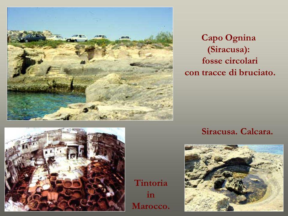 Capo Ognina (Siracusa): fosse circolari con tracce di bruciato. Tintoria in Marocco. Siracusa. Calcara.