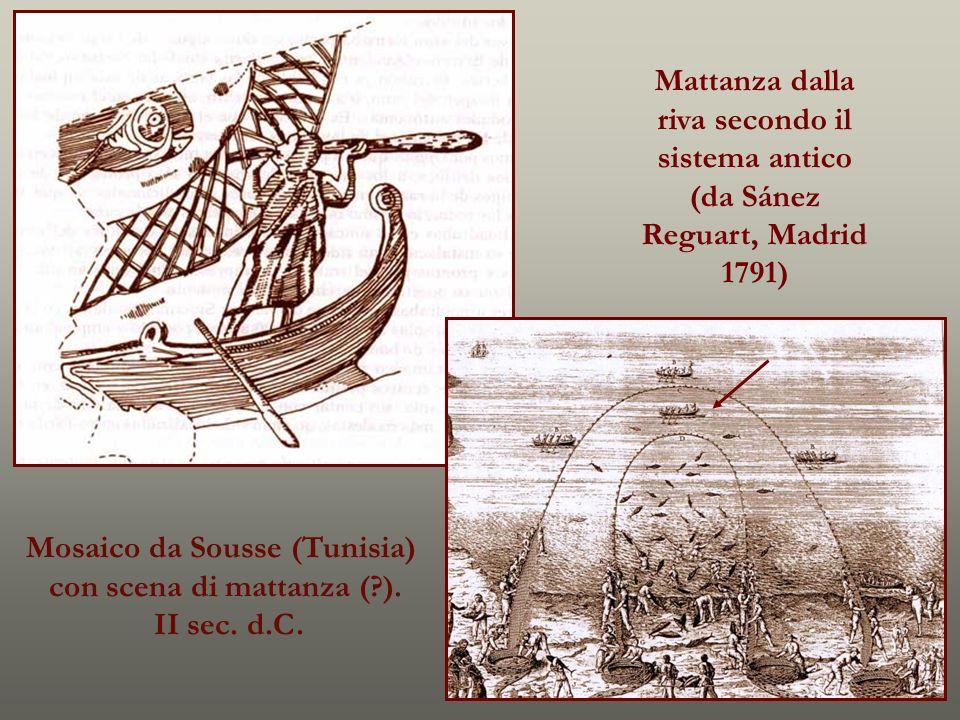 Mosaico da Sousse (Tunisia) con scena di mattanza (?). II sec. d.C. Mattanza dalla riva secondo il sistema antico (da Sánez Reguart, Madrid 1791)