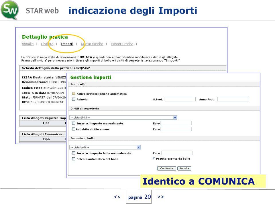 > indicazione degli Importi Identico a COMUNICA