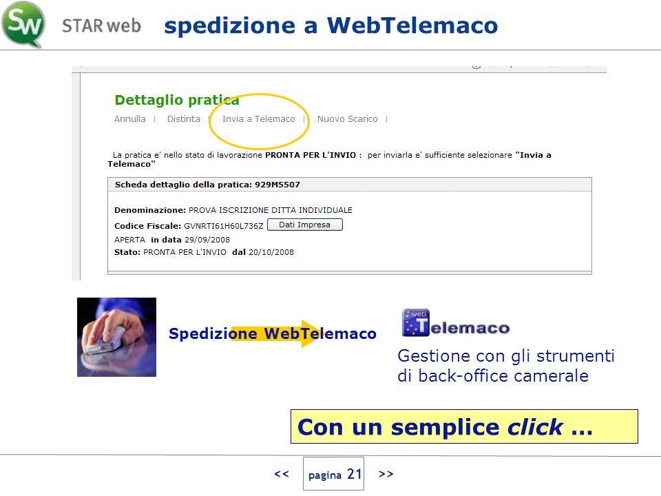 > Gestione con gli strumenti di back-office camerale Spedizione WebTelemaco spedizione a WebTelemaco Con un semplice click …