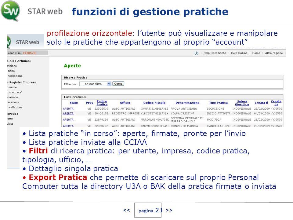 > profilazione orizzontale: lutente può visualizzare e manipolare solo le pratiche che appartengono al proprio account Lista pratiche in corso: aperte