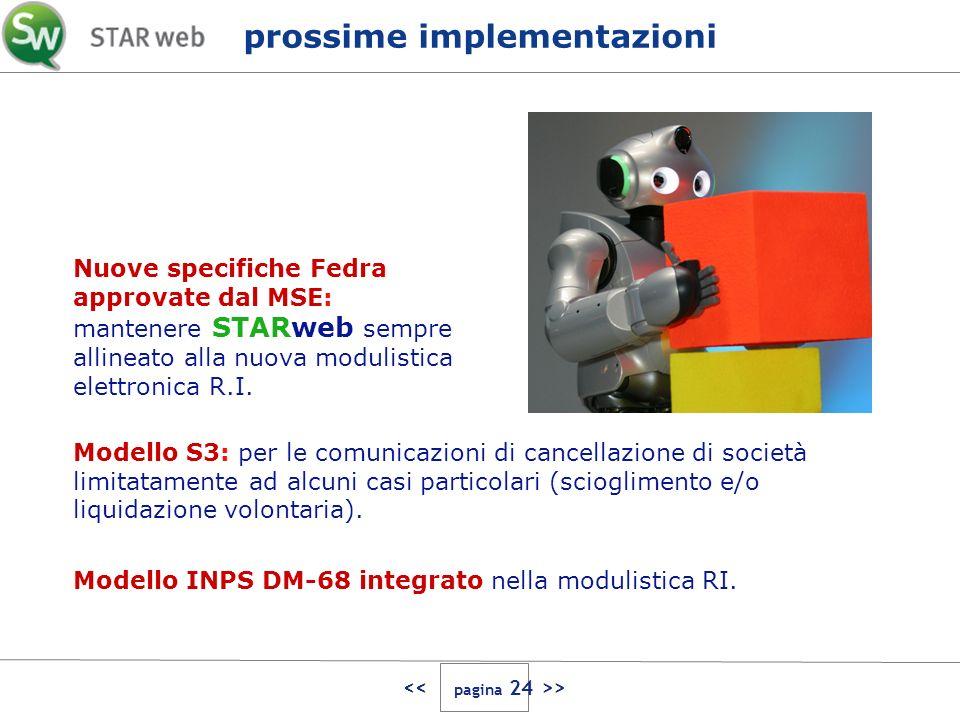 > prossime implementazioni Nuove specifiche Fedra approvate dal MSE: mantenere STARweb sempre allineato alla nuova modulistica elettronica R.I. Modell