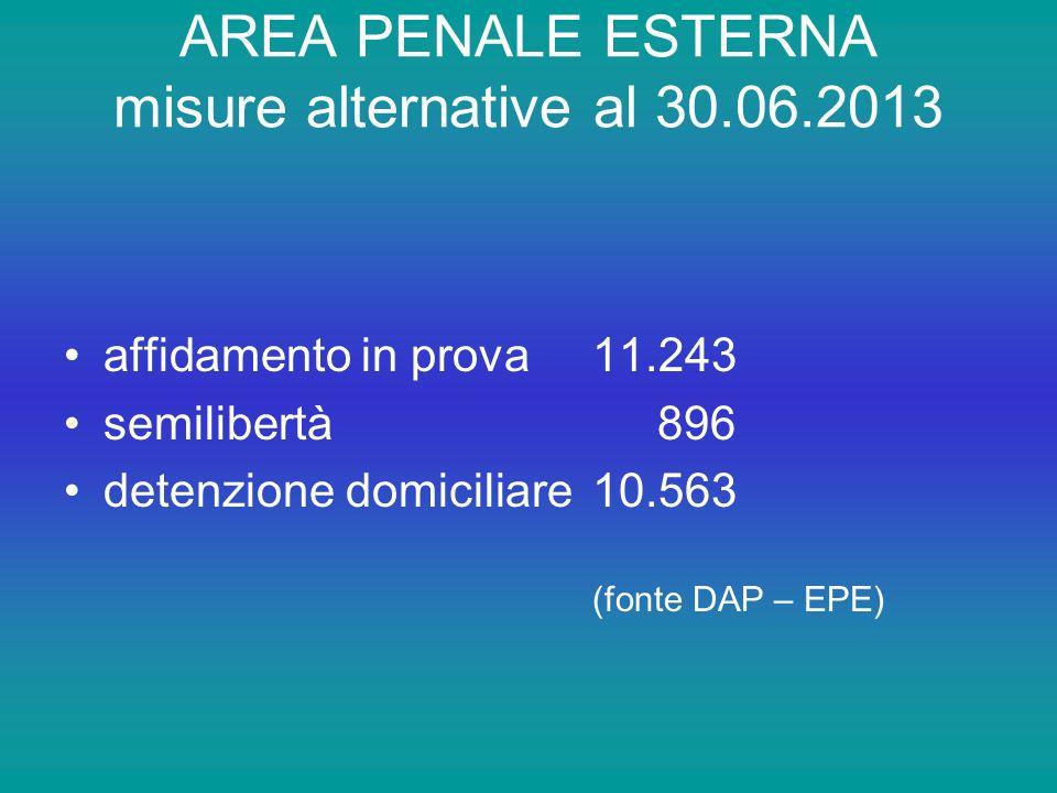 AREA PENALE ESTERNA misure alternative al 30.06.2013 affidamento in prova 11.243 semilibertà 896 detenzione domiciliare10.563 (fonte DAP – EPE)