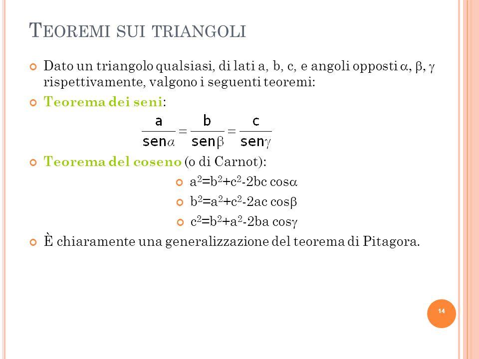T EOREMI SUI TRIANGOLI Dato un triangolo qualsiasi, di lati a, b, c, e angoli opposti rispettivamente, valgono i seguenti teoremi: Teorema dei seni :