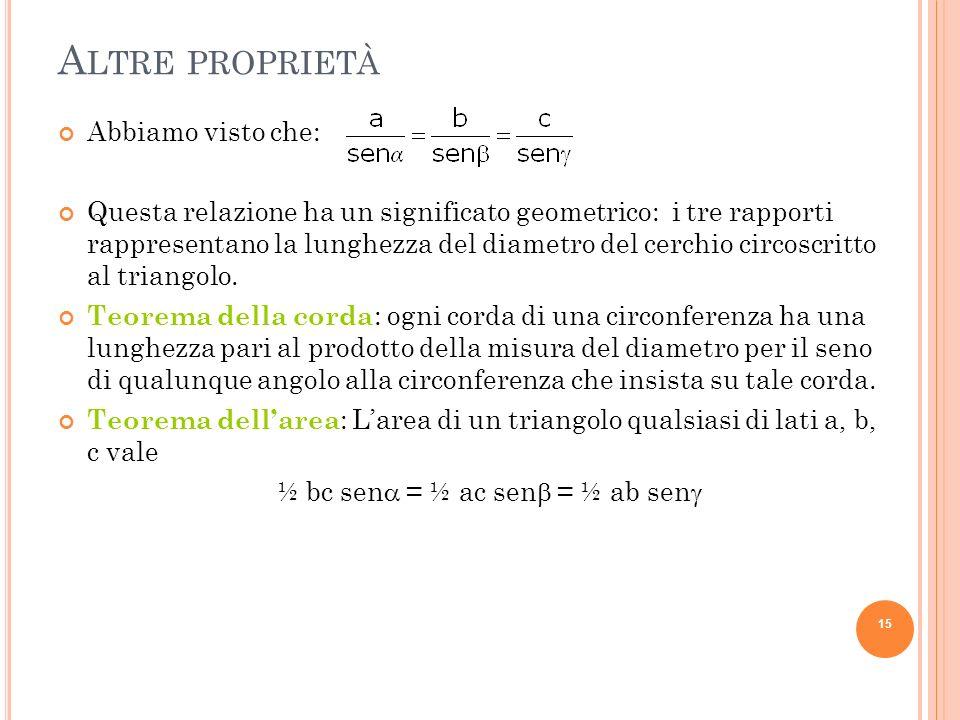 A LTRE PROPRIETÀ Abbiamo visto che: Questa relazione ha un significato geometrico: i tre rapporti rappresentano la lunghezza del diametro del cerchio