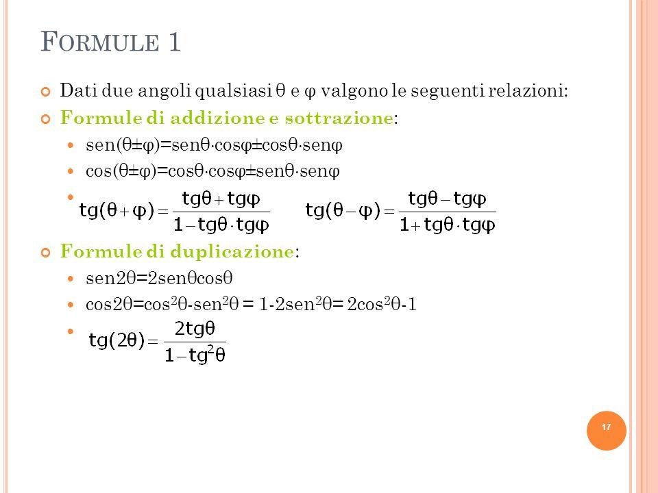 F ORMULE 1 Dati due angoli qualsiasi θ e φ valgono le seguenti relazioni: Formule di addizione e sottrazione : sen(θ±φ)=senθ cosφ±cosθ senφ cos(θ±φ)=c