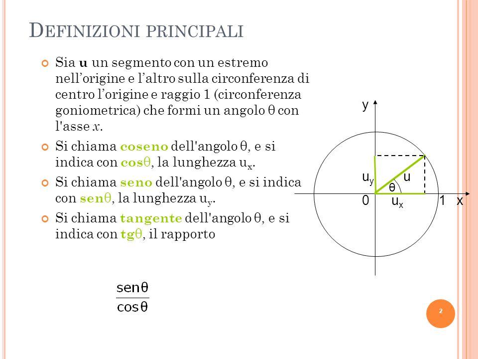 A LTRE FUNZIONI TRIGONOMETRICHE Si possono definire anche altre funzioni trigonometriche, di minore uso, che sono le reciproche di senθ, cosθ e tgθ : B C A Risulta: Cosecante di θ: Secante di θ: Cotangente di θ: 3