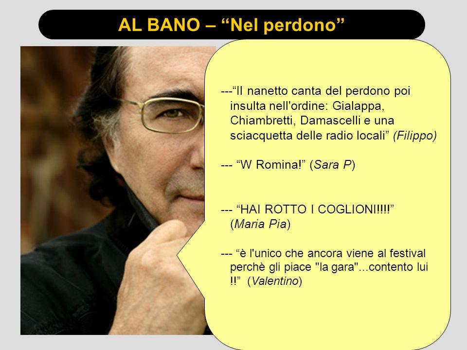 AL BANO – Nel perdono ---Il nanetto canta del perdono poi insulta nell ordine: Gialappa, Chiambretti, Damascelli e una sciacquetta delle radio locali (Filippo) --- W Romina.
