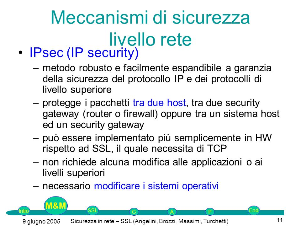 Intro G M&MSSLEnd AP 9 giugno 2005 Sicurezza in rete – SSL (Angelini, Brozzi, Massimi, Turchetti) 11 Meccanismi di sicurezza livello rete IPsec (IP security) –metodo robusto e facilmente espandibile a garanzia della sicurezza del protocollo IP e dei protocolli di livello superiore –protegge i pacchetti tra due host, tra due security gateway (router o firewall) oppure tra un sistema host ed un security gateway –può essere implementato più semplicemente in HW rispetto ad SSL, il quale necessita di TCP –non richiede alcuna modifica alle applicazioni o ai livelli superiori –necessario modificare i sistemi operativi M&M