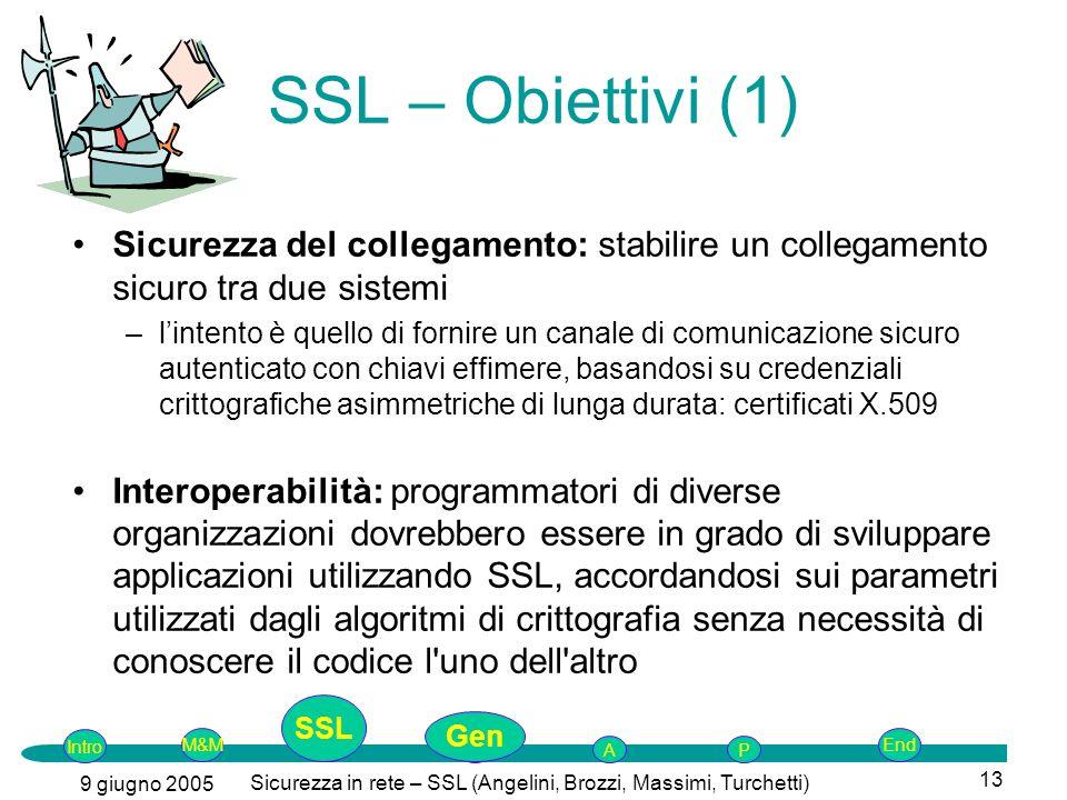 Intro G M&MSSLEnd AP 9 giugno 2005 Sicurezza in rete – SSL (Angelini, Brozzi, Massimi, Turchetti) 13 SSL – Obiettivi (1) Sicurezza del collegamento: s