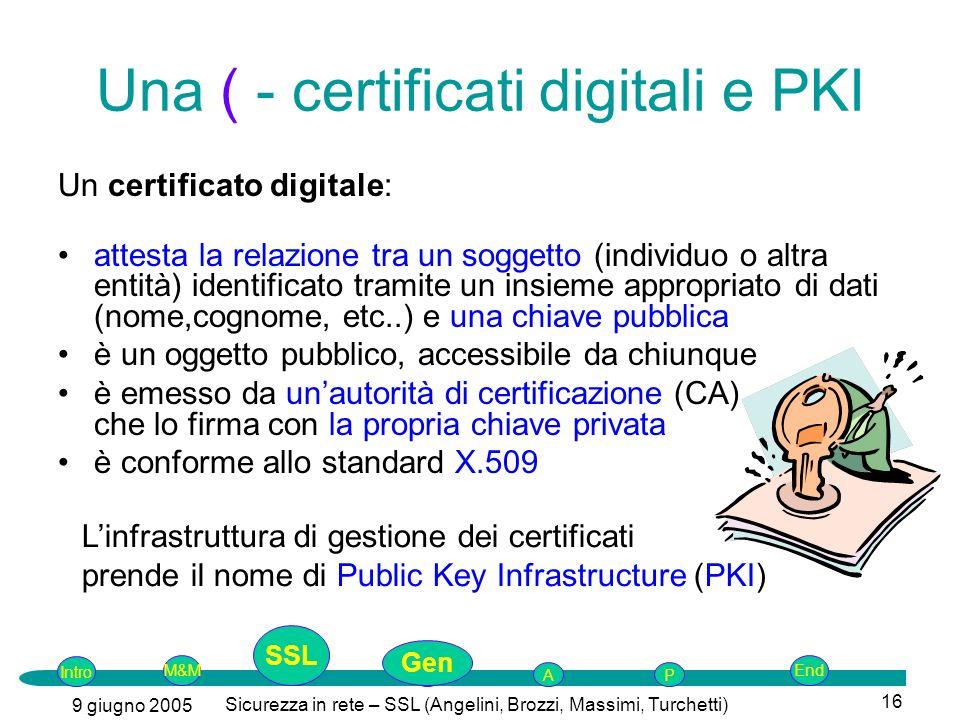 Intro G M&MSSLEnd AP 9 giugno 2005 Sicurezza in rete – SSL (Angelini, Brozzi, Massimi, Turchetti) 16 Una ( - certificati digitali e PKI Un certificato digitale: attesta la relazione tra un soggetto (individuo o altra entità) identificato tramite un insieme appropriato di dati (nome,cognome, etc..) e una chiave pubblica è un oggetto pubblico, accessibile da chiunque è emesso da unautorità di certificazione (CA) che lo firma con la propria chiave privata è conforme allo standard X.509 Linfrastruttura di gestione dei certificati prende il nome di Public Key Infrastructure (PKI) SSL Gen