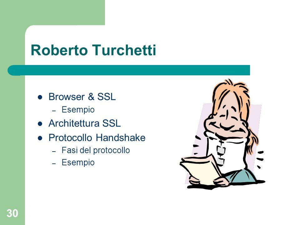 30 Roberto Turchetti Browser & SSL – Esempio Architettura SSL Protocollo Handshake – Fasi del protocollo – Esempio