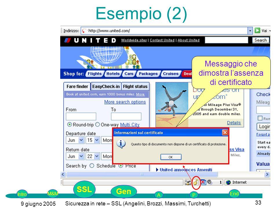 Intro G M&MSSLEnd AP 9 giugno 2005 Sicurezza in rete – SSL (Angelini, Brozzi, Massimi, Turchetti) 33 Messaggio che dimostra lassenza di certificato Esempio (2) SSL Gen