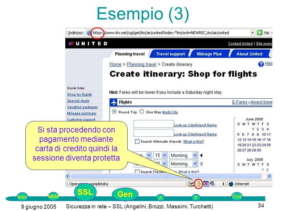 Intro G M&MSSLEnd AP 9 giugno 2005 Sicurezza in rete – SSL (Angelini, Brozzi, Massimi, Turchetti) 34 Si sta procedendo con pagamento mediante carta di credito quindi la sessione diventa protetta Esempio (3) SSL Gen