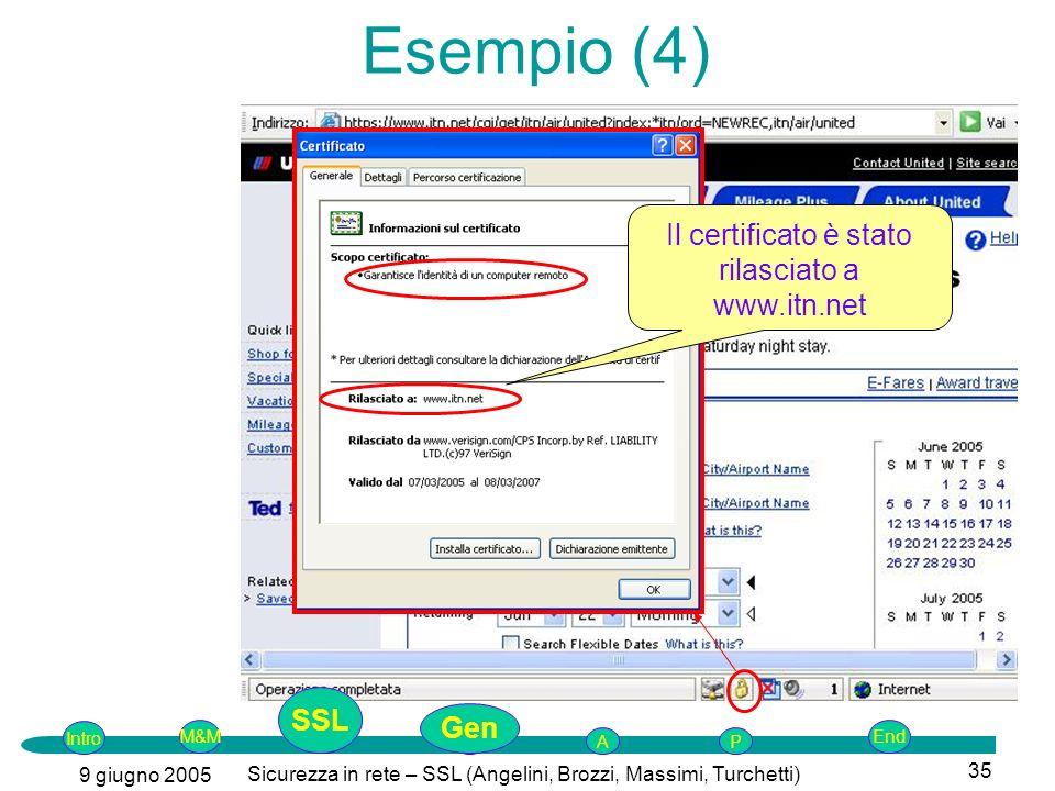 Intro G M&MSSLEnd AP 9 giugno 2005 Sicurezza in rete – SSL (Angelini, Brozzi, Massimi, Turchetti) 35 Il certificato è stato rilasciato a www.itn.net Esempio (4) SSL Gen