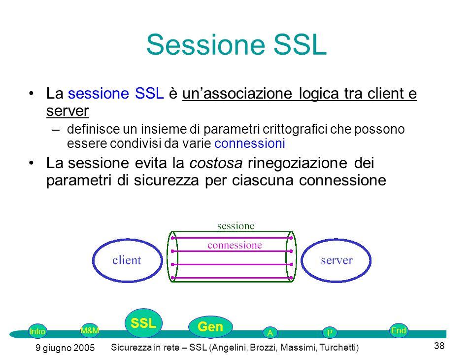 Intro G M&MSSLEnd AP 9 giugno 2005 Sicurezza in rete – SSL (Angelini, Brozzi, Massimi, Turchetti) 38 Sessione SSL La sessione SSL è unassociazione logica tra client e server –definisce un insieme di parametri crittografici che possono essere condivisi da varie connessioni La sessione evita la costosa rinegoziazione dei parametri di sicurezza per ciascuna connessione SSL Gen
