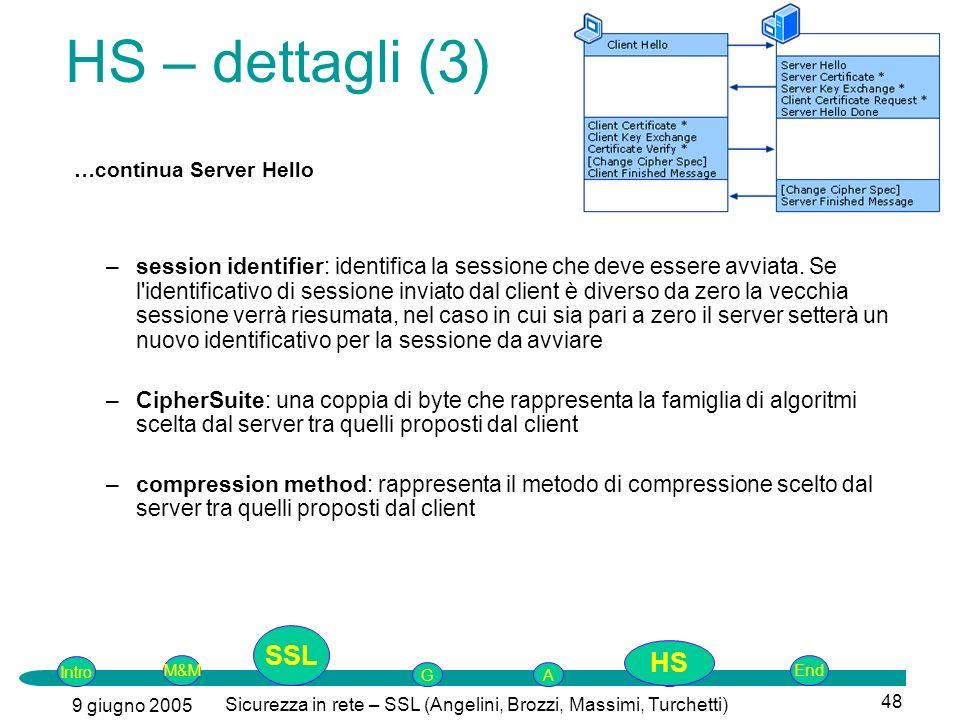 Intro G M&MSSLEnd AP 9 giugno 2005 Sicurezza in rete – SSL (Angelini, Brozzi, Massimi, Turchetti) 48 –session identifier: identifica la sessione che deve essere avviata.