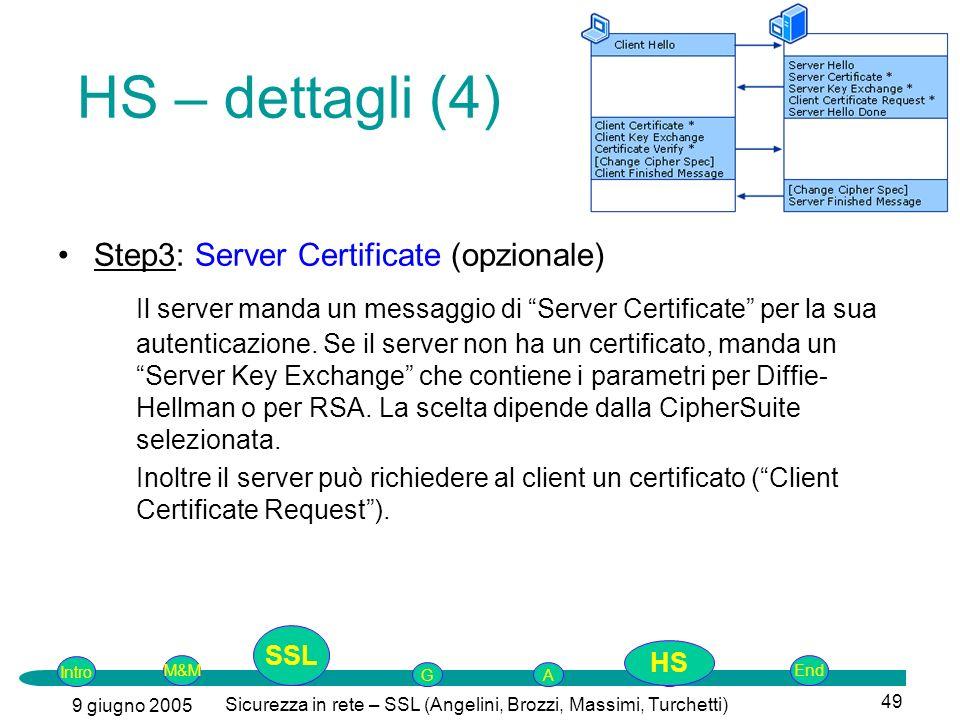 Intro G M&MSSLEnd AP 9 giugno 2005 Sicurezza in rete – SSL (Angelini, Brozzi, Massimi, Turchetti) 49 Step3: Server Certificate (opzionale) Il server manda un messaggio di Server Certificate per la sua autenticazione.