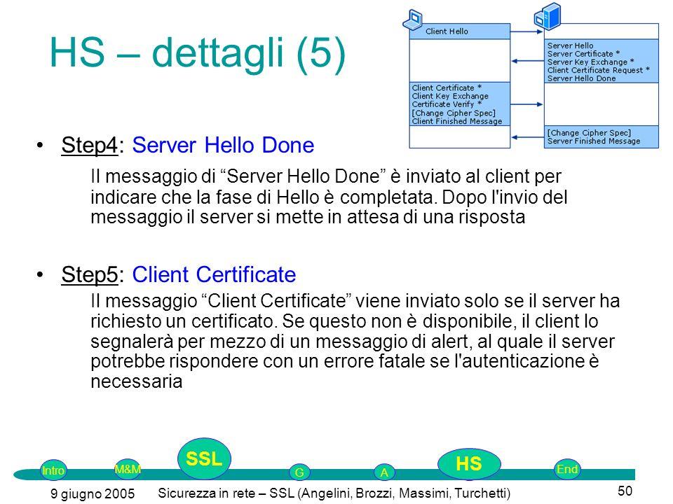 Intro G M&MSSLEnd AP 9 giugno 2005 Sicurezza in rete – SSL (Angelini, Brozzi, Massimi, Turchetti) 50 Step4: Server Hello Done Il messaggio di Server Hello Done è inviato al client per indicare che la fase di Hello è completata.