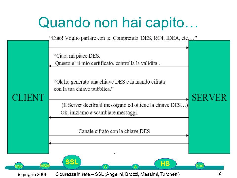 Intro G M&MSSLEnd AP 9 giugno 2005 Sicurezza in rete – SSL (Angelini, Brozzi, Massimi, Turchetti) 53 Quando non hai capito… SSL HS