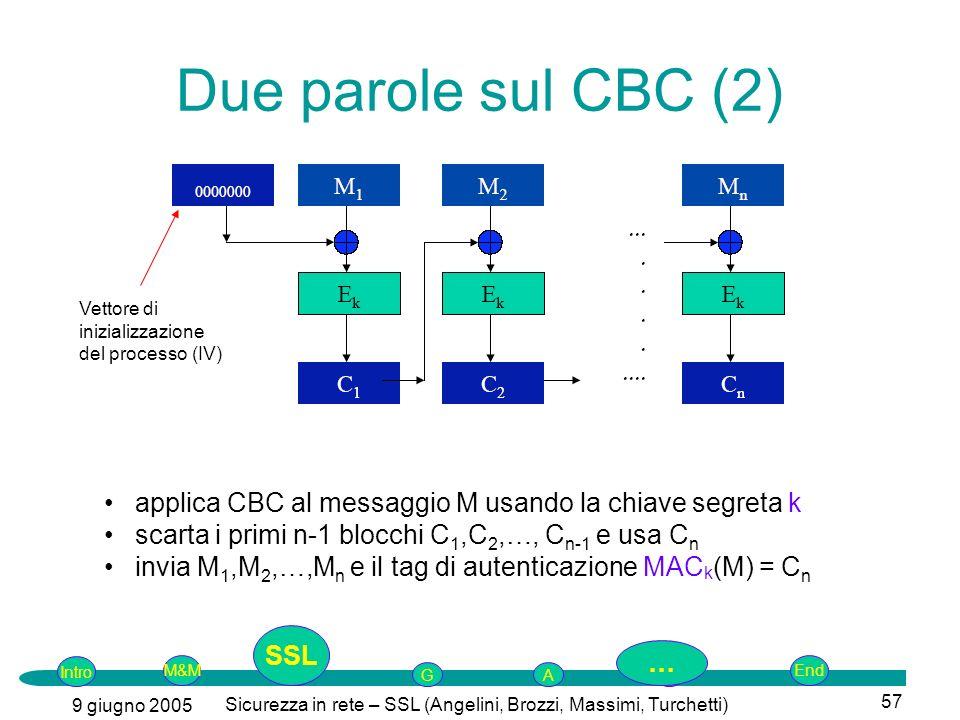 Intro G M&MSSLEnd AP 9 giugno 2005 Sicurezza in rete – SSL (Angelini, Brozzi, Massimi, Turchetti) 57 Due parole sul CBC (2) Vettore di inizializzazione del processo (IV) applica CBC al messaggio M usando la chiave segreta k scarta i primi n-1 blocchi C 1,C 2,…, C n-1 e usa C n invia M 1,M 2,…,M n e il tag di autenticazione MAC k (M) = C n SSL …