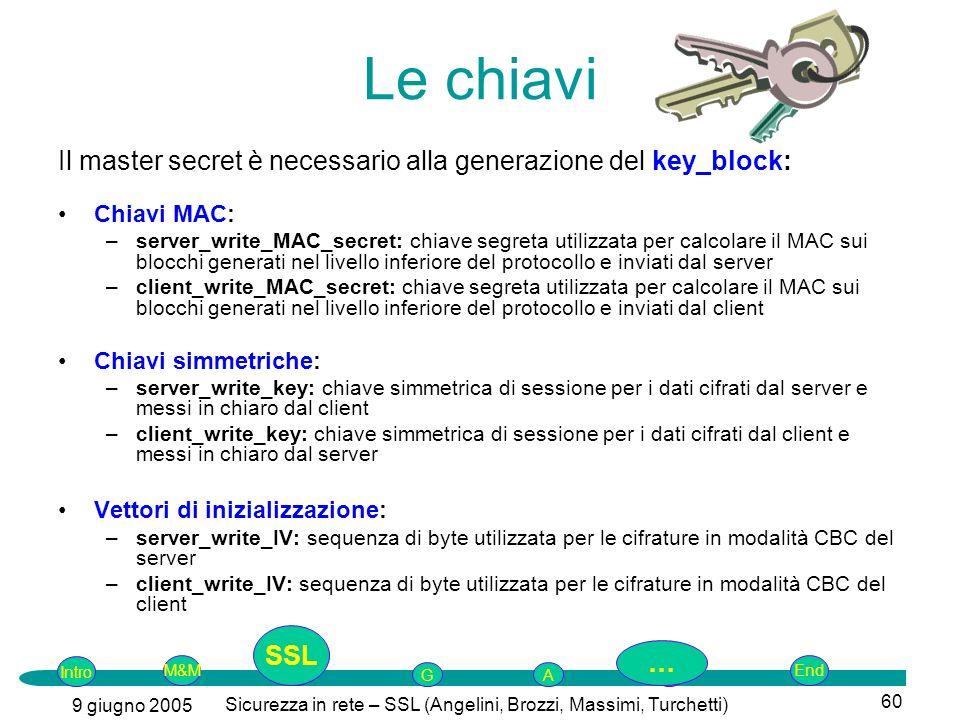 Intro G M&MSSLEnd AP 9 giugno 2005 Sicurezza in rete – SSL (Angelini, Brozzi, Massimi, Turchetti) 60 Le chiavi Il master secret è necessario alla generazione del key_block: Chiavi MAC: –server_write_MAC_secret: chiave segreta utilizzata per calcolare il MAC sui blocchi generati nel livello inferiore del protocollo e inviati dal server –client_write_MAC_secret: chiave segreta utilizzata per calcolare il MAC sui blocchi generati nel livello inferiore del protocollo e inviati dal client Chiavi simmetriche: –server_write_key: chiave simmetrica di sessione per i dati cifrati dal server e messi in chiaro dal client –client_write_key: chiave simmetrica di sessione per i dati cifrati dal client e messi in chiaro dal server Vettori di inizializzazione: –server_write_IV: sequenza di byte utilizzata per le cifrature in modalità CBC del server –client_write_IV: sequenza di byte utilizzata per le cifrature in modalità CBC del client SSL …