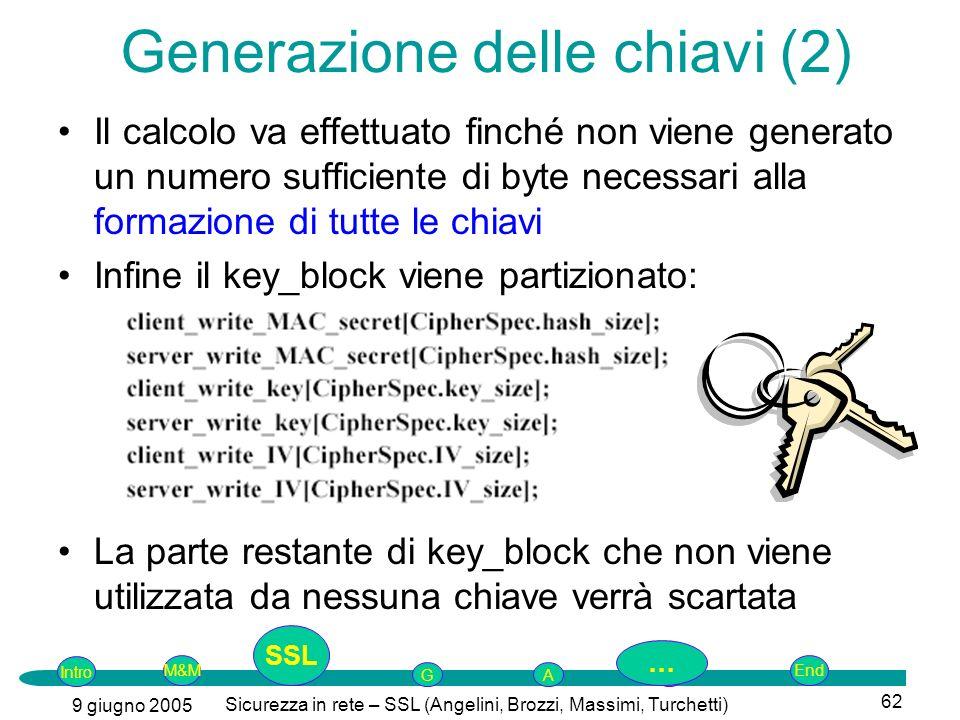 Intro G M&MSSLEnd AP 9 giugno 2005 Sicurezza in rete – SSL (Angelini, Brozzi, Massimi, Turchetti) 62 Generazione delle chiavi (2) Il calcolo va effettuato finché non viene generato un numero sufficiente di byte necessari alla formazione di tutte le chiavi Infine il key_block viene partizionato: La parte restante di key_block che non viene utilizzata da nessuna chiave verrà scartata SSL …