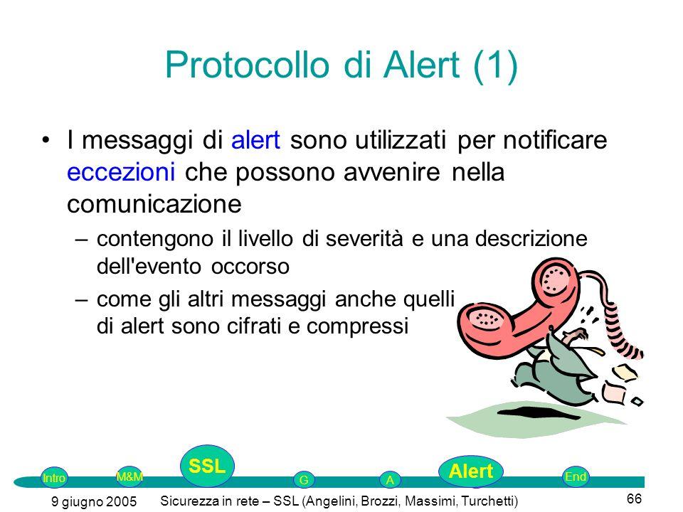 Intro G M&MSSLEnd AP 9 giugno 2005 Sicurezza in rete – SSL (Angelini, Brozzi, Massimi, Turchetti) 66 Protocollo di Alert (1) I messaggi di alert sono