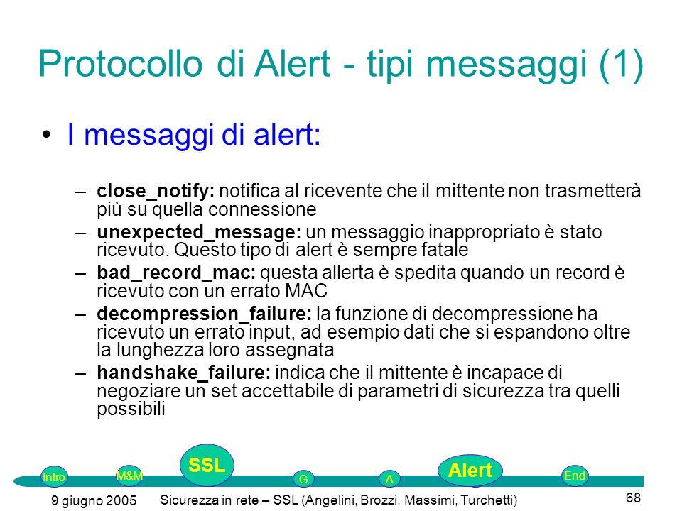 Intro G M&MSSLEnd AP 9 giugno 2005 Sicurezza in rete – SSL (Angelini, Brozzi, Massimi, Turchetti) 68 I messaggi di alert: –close_notify: notifica al r