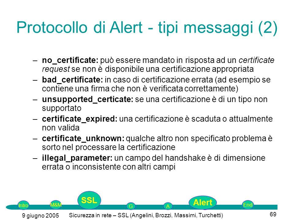 Intro G M&MSSLEnd AP 9 giugno 2005 Sicurezza in rete – SSL (Angelini, Brozzi, Massimi, Turchetti) 69 –no_certificate: può essere mandato in risposta ad un certificate request se non è disponibile una certificazione appropriata –bad_certificate: in caso di certificazione errata (ad esempio se contiene una firma che non è verificata correttamente) –unsupported_certicate: se una certificazione è di un tipo non supportato –certificate_expired: una certificazione è scaduta o attualmente non valida –certificate_unknown: qualche altro non specificato problema è sorto nel processare la certificazione –illegal_parameter: un campo del handshake è di dimensione errata o inconsistente con altri campi Protocollo di Alert - tipi messaggi (2) SSL Alert