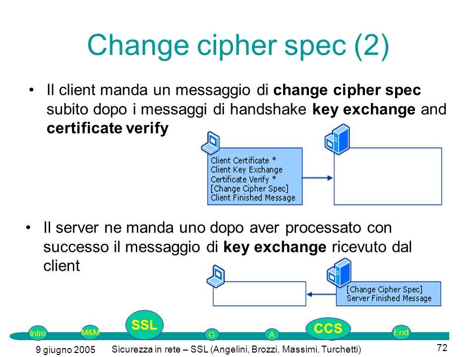 Intro G M&MSSLEnd AP 9 giugno 2005 Sicurezza in rete – SSL (Angelini, Brozzi, Massimi, Turchetti) 72 Change cipher spec (2) Il client manda un messagg