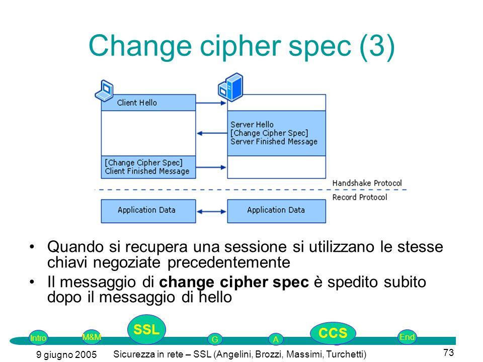 Intro G M&MSSLEnd AP 9 giugno 2005 Sicurezza in rete – SSL (Angelini, Brozzi, Massimi, Turchetti) 73 Change cipher spec (3) Quando si recupera una sessione si utilizzano le stesse chiavi negoziate precedentemente Il messaggio di change cipher spec è spedito subito dopo il messaggio di hello SSL CCS