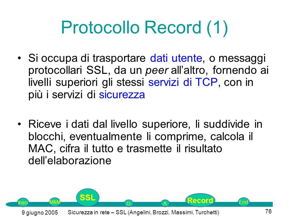 Intro G M&MSSLEnd AP 9 giugno 2005 Sicurezza in rete – SSL (Angelini, Brozzi, Massimi, Turchetti) 76 Protocollo Record (1) Si occupa di trasportare da