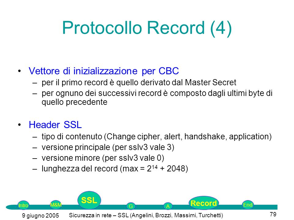 Intro G M&MSSLEnd AP 9 giugno 2005 Sicurezza in rete – SSL (Angelini, Brozzi, Massimi, Turchetti) 79 Vettore di inizializzazione per CBC –per il primo record è quello derivato dal Master Secret –per ognuno dei successivi record è composto dagli ultimi byte di quello precedente Header SSL –tipo di contenuto (Change cipher, alert, handshake, application) –versione principale (per sslv3 vale 3) –versione minore (per sslv3 vale 0) –lunghezza del record (max = 2 14 + 2048) Protocollo Record (4) SSL Record
