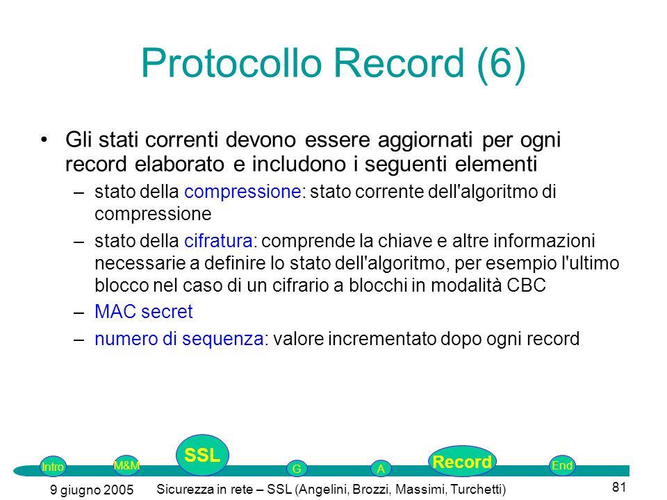 Intro G M&MSSLEnd AP 9 giugno 2005 Sicurezza in rete – SSL (Angelini, Brozzi, Massimi, Turchetti) 81 Gli stati correnti devono essere aggiornati per ogni record elaborato e includono i seguenti elementi –stato della compressione: stato corrente dell algoritmo di compressione –stato della cifratura: comprende la chiave e altre informazioni necessarie a definire lo stato dell algoritmo, per esempio l ultimo blocco nel caso di un cifrario a blocchi in modalità CBC –MAC secret –numero di sequenza: valore incrementato dopo ogni record Protocollo Record (6) SSL Record