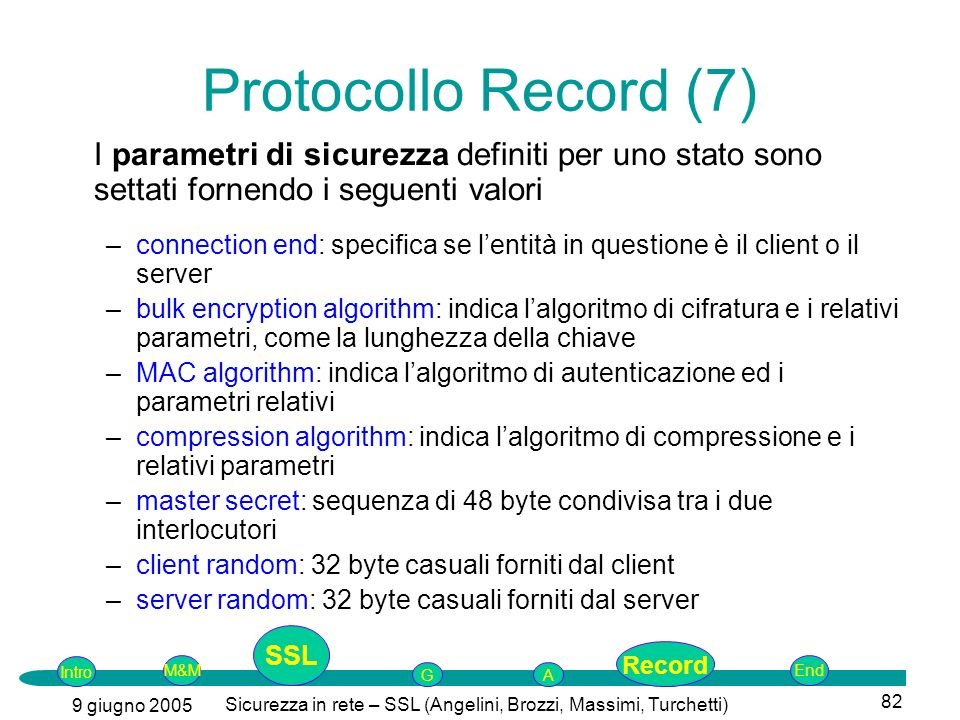 Intro G M&MSSLEnd AP 9 giugno 2005 Sicurezza in rete – SSL (Angelini, Brozzi, Massimi, Turchetti) 82 I parametri di sicurezza definiti per uno stato s