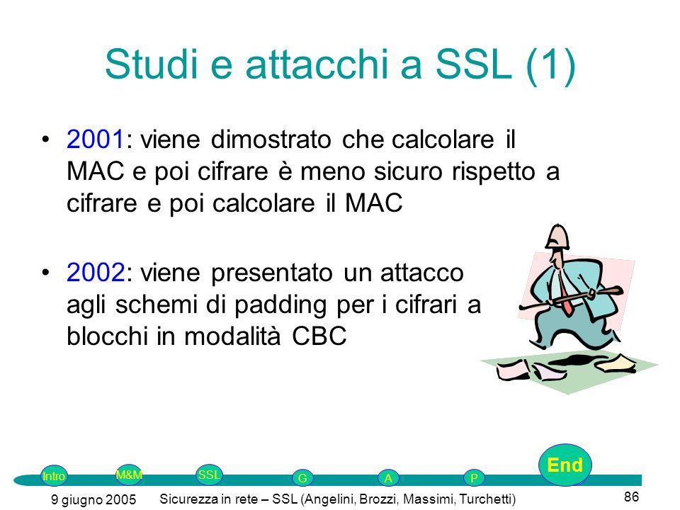 Intro G M&MSSLEnd AP 9 giugno 2005 Sicurezza in rete – SSL (Angelini, Brozzi, Massimi, Turchetti) 86 Studi e attacchi a SSL (1) 2001: viene dimostrato