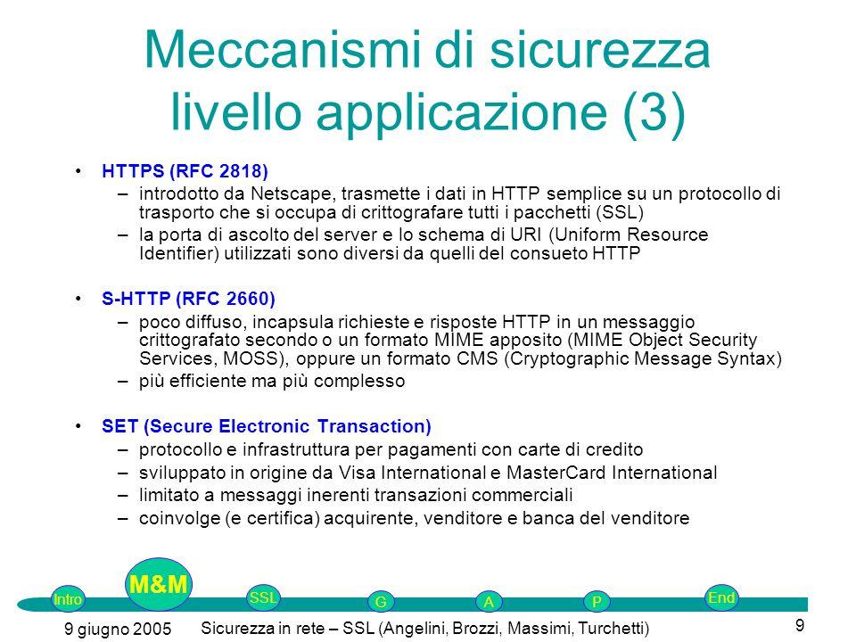 Intro G M&MSSLEnd AP 9 giugno 2005 Sicurezza in rete – SSL (Angelini, Brozzi, Massimi, Turchetti) 9 HTTPS (RFC 2818) –introdotto da Netscape, trasmette i dati in HTTP semplice su un protocollo di trasporto che si occupa di crittografare tutti i pacchetti (SSL) –la porta di ascolto del server e lo schema di URI (Uniform Resource Identifier) utilizzati sono diversi da quelli del consueto HTTP S-HTTP (RFC 2660) –poco diffuso, incapsula richieste e risposte HTTP in un messaggio crittografato secondo o un formato MIME apposito (MIME Object Security Services, MOSS), oppure un formato CMS (Cryptographic Message Syntax) –più efficiente ma più complesso SET (Secure Electronic Transaction) –protocollo e infrastruttura per pagamenti con carte di credito –sviluppato in origine da Visa International e MasterCard International –limitato a messaggi inerenti transazioni commerciali –coinvolge (e certifica) acquirente, venditore e banca del venditore Meccanismi di sicurezza livello applicazione (3) M&M